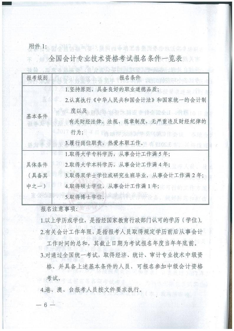 云南省2017年中级会计考试报名通知6
