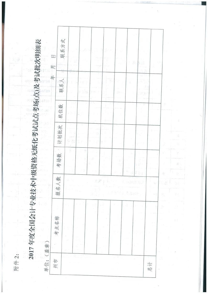 云南省2017年中级会计考试报名通知7