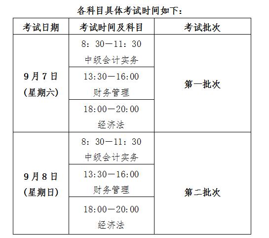 中级会计考试时间